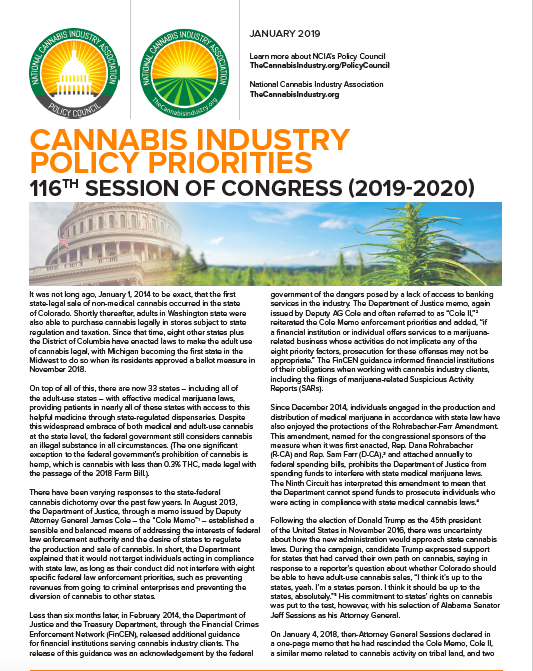 Cannabis Industry Policy Priorities: 116th Session of Congress (2019-2020)